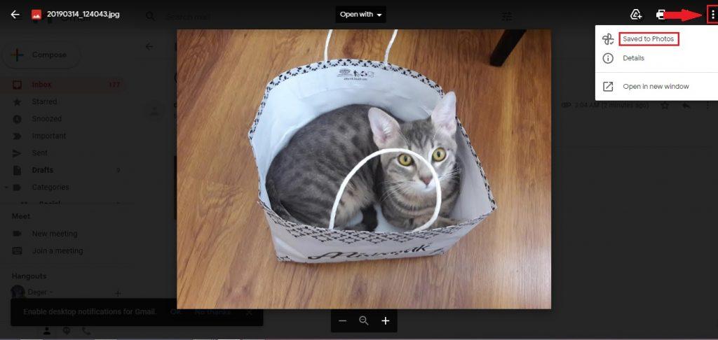 Gmail 'den Google Fotoğraflar 'a Kaydedin